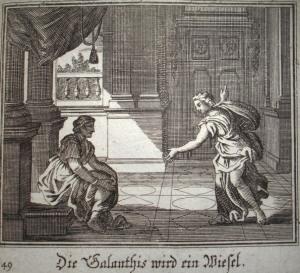 Galanthis telling Hera a big ol' fib. (Johann Ulrich Krauss, Edition 1690) Ovid, Met IX, 311-323