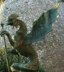 A cockatrice statue at  Trsat Castle, Croatia