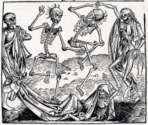 The Dance of Death (1493), a woodcut by Michael Wolgemut, from the Liber chronicarum by Hartmann Schedel.