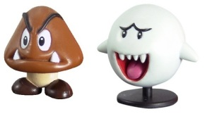 Taxidermy figures of a goomba and a boo. Note the resemblance.