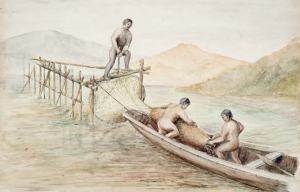 watercolor of Maori eel weirs