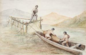 watercolor of Maori eel weirs
