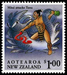 A stamp showcasing Maui fighting Tuna
