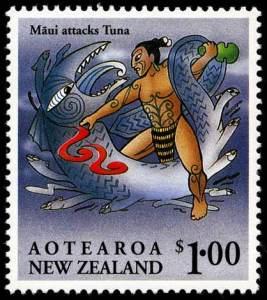 A stamp showcasing Maui fighting Tuna